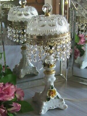 Vintage French Glass Dome Crystal Chandelier Prism Waterfall Boudoir Table Lamp