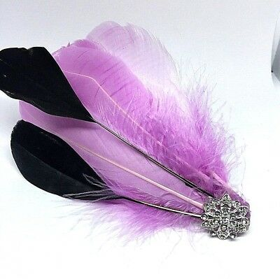 Silver Lilac Vintage Feather Fascinator Headpiece Diamante Hair Clip wedding