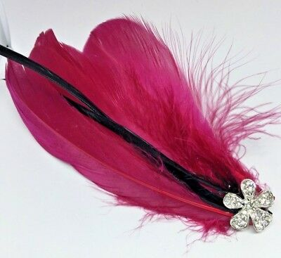 Silver Red  Vintage Feather Fascinator Headpiece Diamante Hair Clip wedding  A2