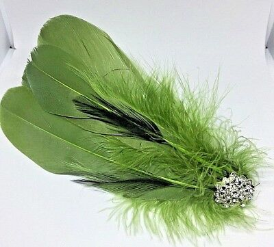 Silver Green  Vintage Feather Fascinator Headpiece Diamante Hair Clip wedding A2