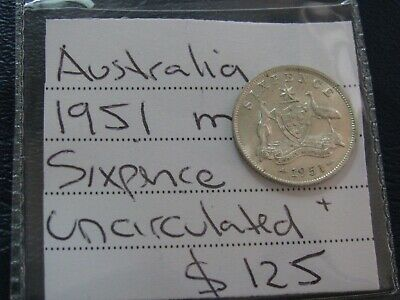 Australia 1951 M Silver Sixpence Coin Uncirculated to Choice better coin  #A57