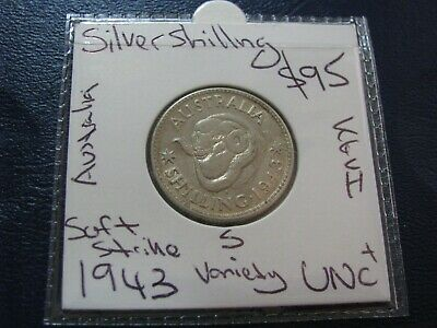 Australia 1943 S Silver Shilling Coin Uncirculated better coin    #A69