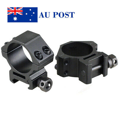 Tactical 2PCS 30MM Ring Scope Mount 20mm Rail Base Mount Fit Airsoft Black Set