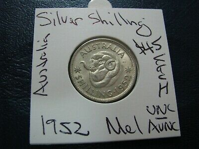 Australia 1952 M Silver Shilling Coin About Uncirculated  better coin    #A74