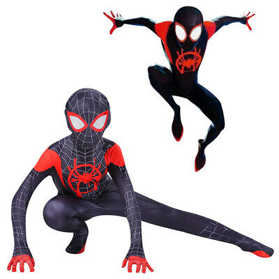 Spider Man Into the Spider Verse Costume Bambini Miles Morales Cosplay Zentai