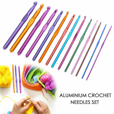 Multi Coloured Aluminium Crochet Hooks Yarn Knitting Needles Set Kit AU 14PCS