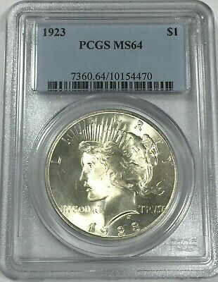 1923 PCGS MS64 PEACE Silver Dollar LITE GOLDEN TONING MS 64 #470