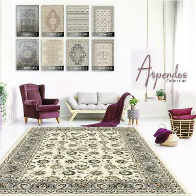 Large Cream Traditional Geometric Rugs Grey Floral Border Quality Thin Area Rugs