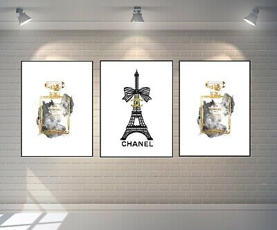 Set Of 3 Coco Chanel Art Prints Gold A4