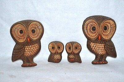 Vintage RETRO OWLS Wall Art Hangings SET OF FOUR Owl Family MID CENTURY