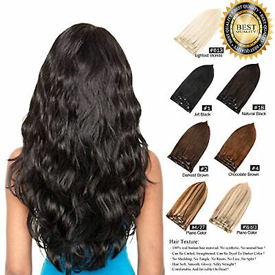 extra Thick Double Weft Clip In Real Remy Human Hair Extensions Full Head