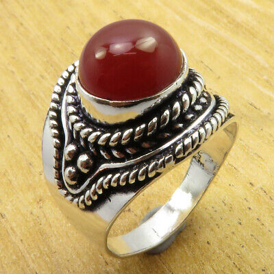 Wonderful Carnelian 925 Silver Overlay OLD STYLE Ring Size 7.25 ONLINE BUY NEW