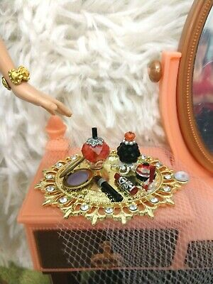 Barbie Silkstone Doll Perfume Vanity Dollhouse Miniature Gold Tray Red Set
