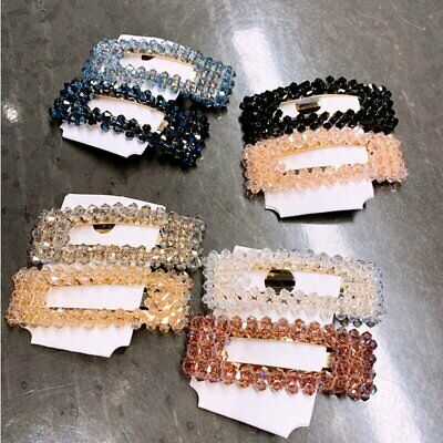 Women Charm Slide Snap Crystal Hair Clips Barrette Grips Hairpin Pin Accessories
