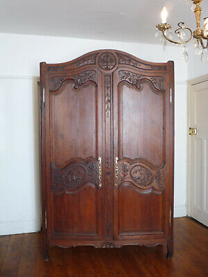 Antique French Marriage Armoire Linen Cupboard