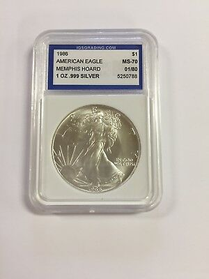 1986 Igs Ms70 $1 Mint State Silver American Eagle 1 Oz .999 First Year 01/80