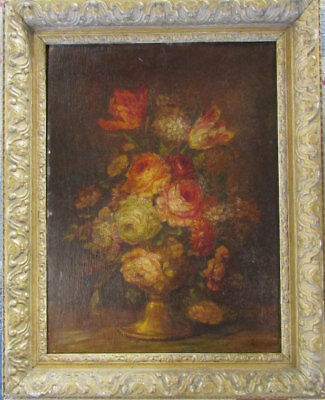 country house Edwardian flower still life oil painting. URGENT SALE !!