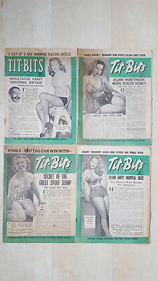 x4 1950 issues of Tit-Bits Magazine Adverts, Sport, Royalty, Cartoons