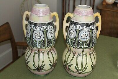 Nippon Antique Pair of Hand Painted Arts and Crafts Gourd Shaped Vases
