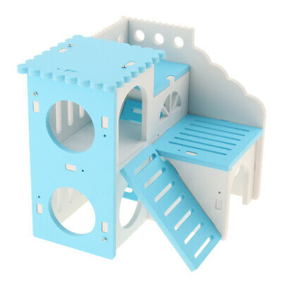 Hamster Deluxe House with Slide Small Animals Hideout Hut Habitat Cage Decor