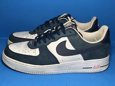 newest collection dff3a 6c5ed 2004 Nike Air Force 1 JD SPORTS EUROPE WHITE DENIM NAVY BLUE PINK Size 11.