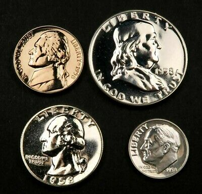 1958 Proof Set ~ Proof ~ 4 Coins ~ 90% Silver ~ #408