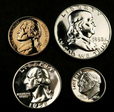 1958 Proof Set ~ Proof ~ 4 Coins ~ 90% Silver ~ #407