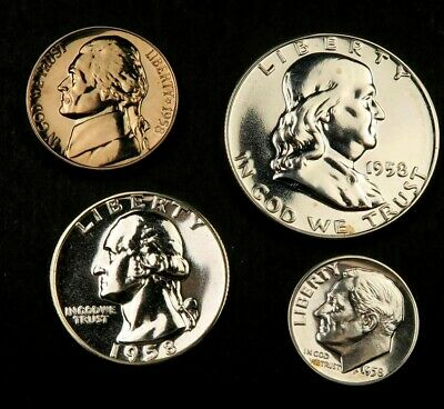 1958 Proof Set ~ Proof ~ 4 Coins ~ 90% Silver ~ #409