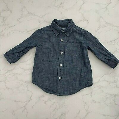 Janie and Jack Blue Chambray Long Sleeve Button Down Shirt Boy's Size 3-6 Months