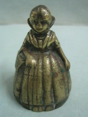 Antique Bronze Bell a woman  with a basket in the arm