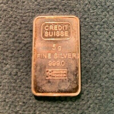 5 gram .999 Fine Silver Bar- Credit Suisse- Perfect for Barder Situation