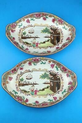 RARE PAIR of c1820 SPODE Stone China SHIP PATTERN OVAL NUT DISHES 3067 Excellent