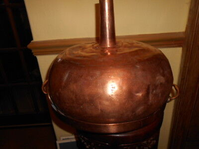 antique large copper funnel and lid 1850s from scottish whiskey distillery
