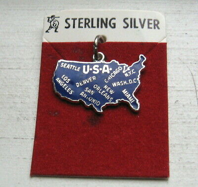 Vintage Sterling Silver Enamel USA United States Travel Charm New on Card