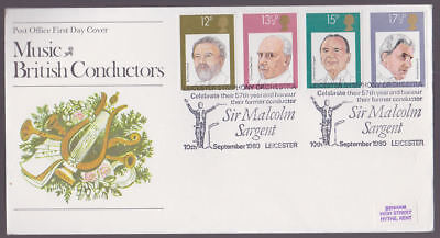 Great Britain 1980 FDC Post Office Cover Sir Malcolm Sargent Leicester Cancel