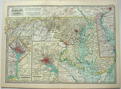 Original 1902 Map of Maryland & Delaware by The Century Company. Antique