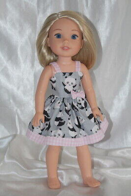 Dress fits 14inch American Girl Wellie Wishers Doll Clothes Panties Hearts Panda