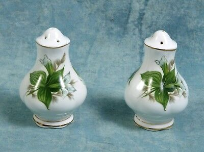 Royal Albert Trillium Bone China Salt Pepper Shakers set gold white green Mint