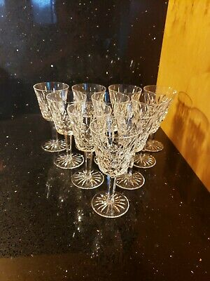 10 Waterford Irish Cut Crystal Lismore Wine Glasses Excellent Condition Gothic
