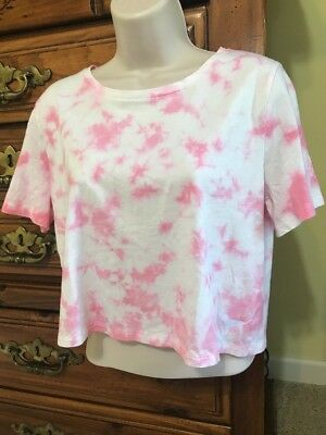 f747e59faeeec5 Victoria Secret Pink And White Tie Dyed Medium Crop T-shirt Top New