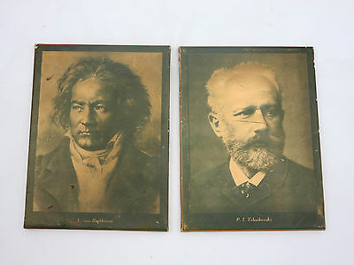 Vintage Composer Wall Plaques - Repousse 3D, Tchaikovsky Beethoven, Music