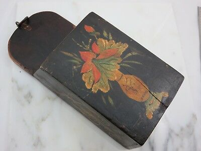 Antique Chinese Wood Wall Pocket - Hand Painted, Folk Art, Wax Seal