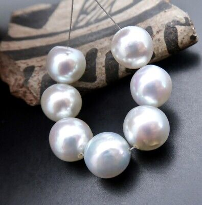 Super Rare Aa+ Japanese Akoya Pearls Silver Blue Iridescent Fantastic Luster