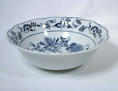 "Vintage Blue Onion Deign by BLUE DANUBE 9"" Round Vegetable Bowl Ribbon Stamp js"