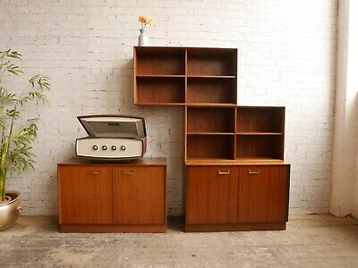 Vintage 50s 60s Mid Century 4pc Shelving Wall Unit Bookcase Media Unit Sideboard