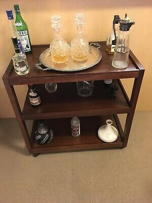 Beautiful Stained timber Drink cart /Side table  on castors