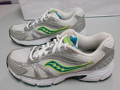 ea5955406fbd SAUCONY OASIS 15096-24 Women's White/Silver/Turquoise Grid Running Shoes Sz.