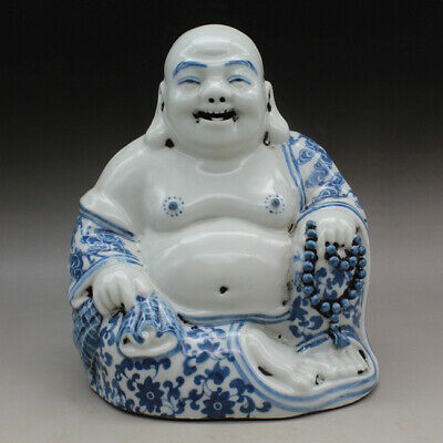 China old hand-made blue and white porcelain Maitreya buddha statue