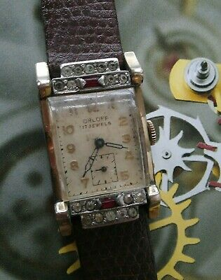 Rare 1940s Art Deco ORLOFF 17 Jewels Swiss Made Diamonds Ruby GP Wrist Watch