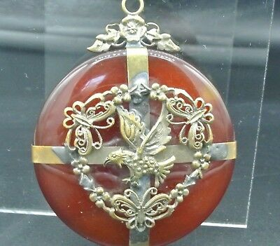 Antique Victorian Scottish Agate Ornate Eagle Double Sided Pendant Jewelry